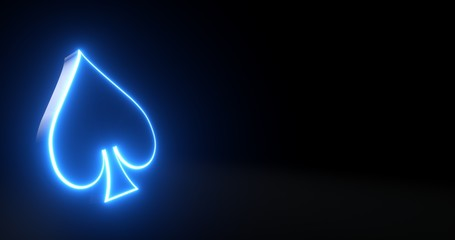 Aces Playing Cards Symbol - Spades With Futuristic Blue Glowing Neon Lights Isolated On The Black Background - 3D Illustration