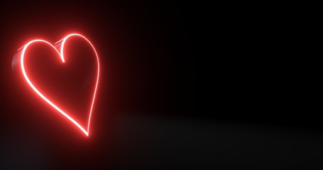 Aces Playing Cards Symbol - Hearts With Futuristic Red Glowing Neon Lights Isolated On The Black Background - 3D Illustration