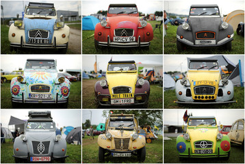 A combination photo shows Citroen's 2CV cars during the event devoted to this iconic autmobile that coincides this year with the French car maker's 100th birthday in Samobor