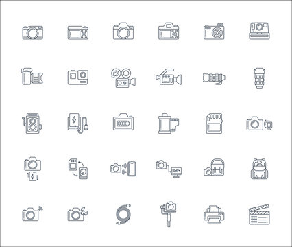 Lineal design icon set of photography camera, cinema or movie camera, action camera and accessories concept. Editable stroke vector icon. 128x128 pixel perfect icon when downsize to 1468x1240.