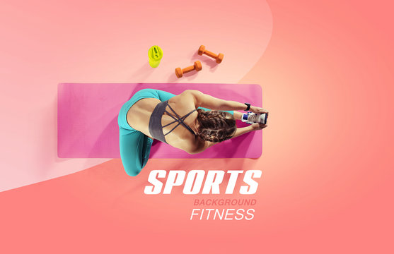 Sport and fitness backgrounds. Stretching. Isolated. Top view.
