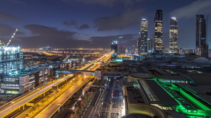 Poster Bangkok Aerial view of Financial center road night to day timelapse with under construction building