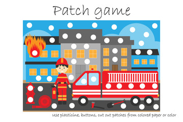 Education Patch game fireman for children to develop motor skills, use plasticine patches, buttons, colored paper or color the page, kids preschool activity, printable worksheet, vector illustration