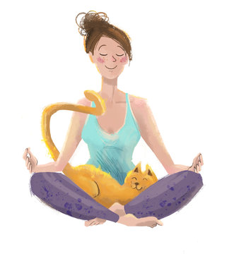 young woman doing morning yoga and meditation with her cat