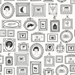 Various doodle frames with pictures. Different shapes. Simple logos. Minimalistic design. Outline drawing. Hand drawn vector seamless pattern. Perfect for wallpapers