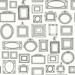Various doodle frames. Different shapes. Simple logo. Minimalistic design. Outline drawing. Hand drawn vector seamless pattern. Perfect for wallpapers