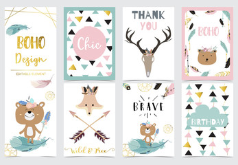 Collection of kid invitation set with feather,bear,wild,geometric.Vector illustration for baby shower,birthday invitation,postcard and sticker.Editable element