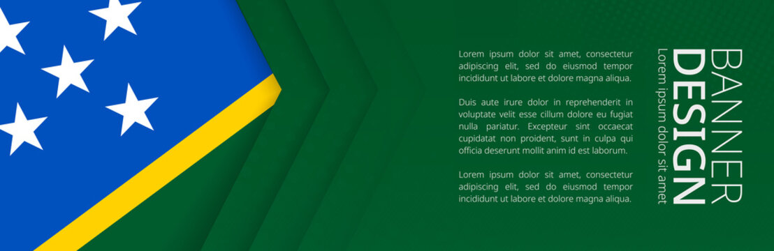 Banner template with flag of Solomon Islands for advertising travel, business and other.