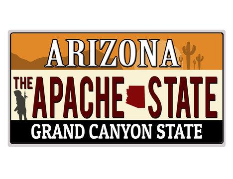 An imitation Arizona license plate