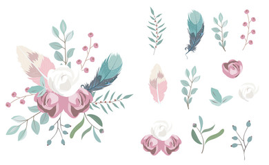 Wall Mural - pastel flower set with flower,rose,leaves,wreath.Vector illustration for sticker,postcad,birthday invitation.Editable object