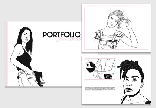 Black and White Portfolio Layout with Pink Accents
