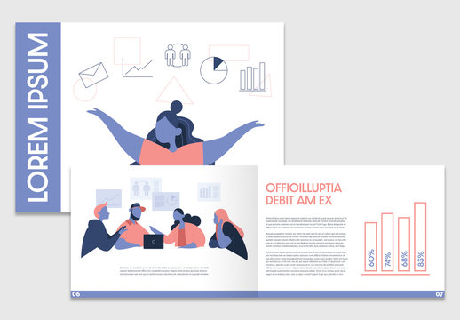 Business Brochure Layout with Illustrative Elements