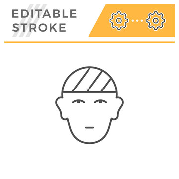 Head injury editable stroke line icon
