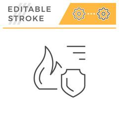 Fire insurance editable stroke line icon