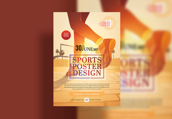 Poster Layout with Sports and Fitness Illustration