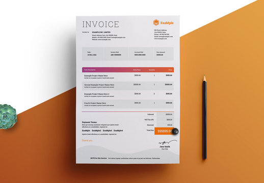 Invoice Layout with Pink to Orange Gradient Elements