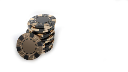 Black Golden Casino Chips Isolated On The White Background - 3D Illustration