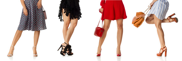 different woman in various dress standing with stylish purse bag and high heels shoes isolated on white background.