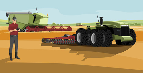 Wall Mural - Farmer with autonomous harvester and tractor on a smart farm. Digital transformation in agriculture. Vector illustration