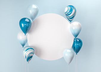 Set of colorful balloons with empty space for text. Realistic background for birthday, anniversary, wedding, holiday congratulation banners. Festive template for social media. 3D render illustration.
