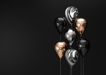 Set of black and gold foil balloons with empty space. Realistic background for birthday, anniversary, wedding congratulation banners. Festive template for social media. 3D render illustration.