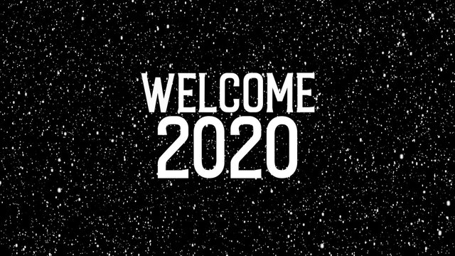 """2020 celebration with snowflakes. Animated text of """"WELCOME 2020"""" Christmas background."""