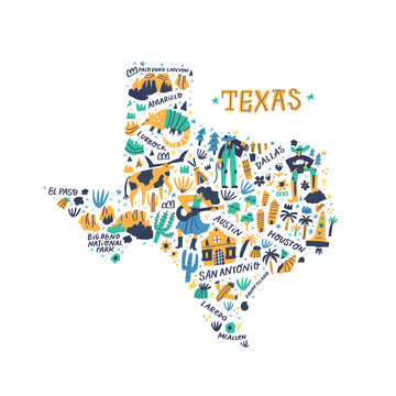 Texas cartoon map vector illustration. Western american state cities, landmarks, tourist attractions and routes names doodle drawings. USA travel infographic poster, banner flat hand drawn design