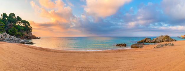 Fototapete - Lloret de mar resort. Clean beach in the morning.