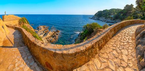 Fototapete - Hiking trail along the coast in Lloret de mar