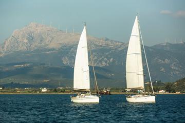 Fototapete - Sailing yacht boats regatta at the Aegean Sea - Greece.
