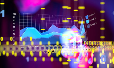 Business intelligence. Diagram, Graph, Stock Trading, Investment dashboard