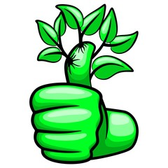 In de dag Draw Green Hand Thumb Up and Leaves Ecological Vector Illustration
