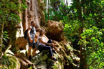 Couple exploring in the lush Lamington National Park, Queensland