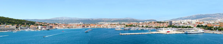 Panoramic View of Waterfront city. Skyline of Split, Croatia, Adriatic coast.