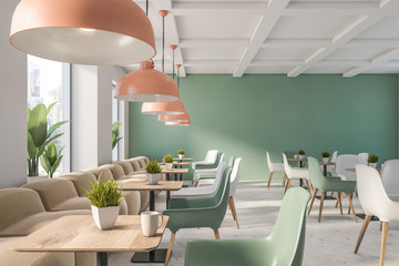 Green and white family restaurant interior