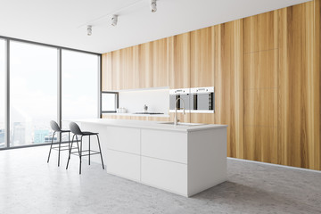 Photo sur Toile Les Textures Wooden kitchen corner with white bar