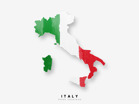 Italy detailed map with flag of country. Painted in watercolor paint colors in the national flag