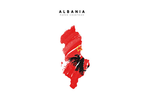 Albania detailed map with flag of country. Painted in watercolor paint colors in the national flag