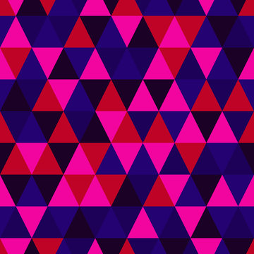 Vector seamless geometric pattern. The endless abstract pattern of triangle shape with different colors of 80s. Neon color. Background illustration for textile, fabric, wrapping or your graphic design