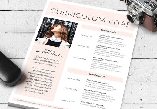Pale Pink and White Resume Layout