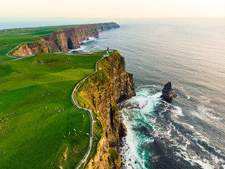Tuinposter Kust World famous Cliffs of Moher, one of the most popular tourist destinations in Ireland. Aerial view of known tourist attraction on Wild Atlantic Way in County Clare.