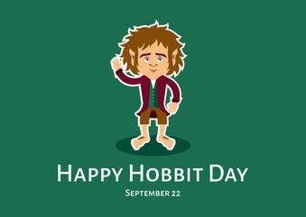 Happy Hobbit Day vector. Hobbit cartoon character. Hobbit vector illustration. Bilbo Baggins vector. Happy Hobbit Day Poster, September 22. Important day
