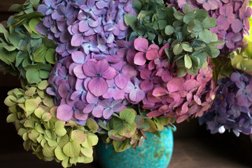 Foto op Canvas Hydrangea Bouquet of colored hydrangea in a vase, fragment, close-up.