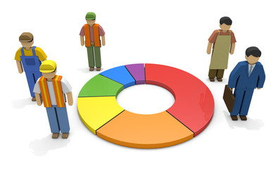 Working people Employment statistics Labor force 3D illustration