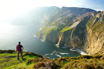 Slieve League, Irelands highest sea cliffs, located in south west Donegal along this magnificent costal driving route. Wild Atlantic Way route, Co Donegal, Ireland.