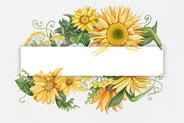 Watercolor sunflowers invitation card for wedding, birthday, holiday with empty space for your text
