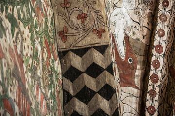 Details of ornaments at the walls inside Havero church in the Roslagen County