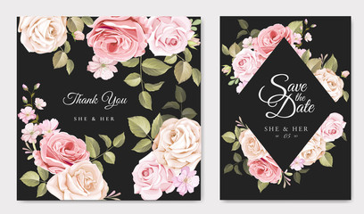 wedding card with beautiful roses template