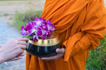 Women offering orchid flowers to the monks to get alms in the morning