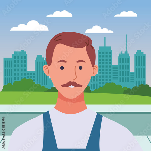 Plumber with mustache worker profile cartoon